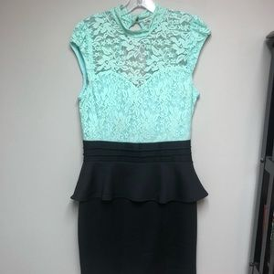 Peplum Mini Dress w/ Lace Detailing